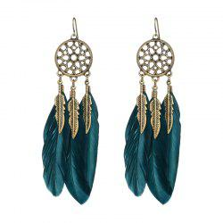 Fashionable Blue Feather Leaf Mesh Bronze Color Earrings -