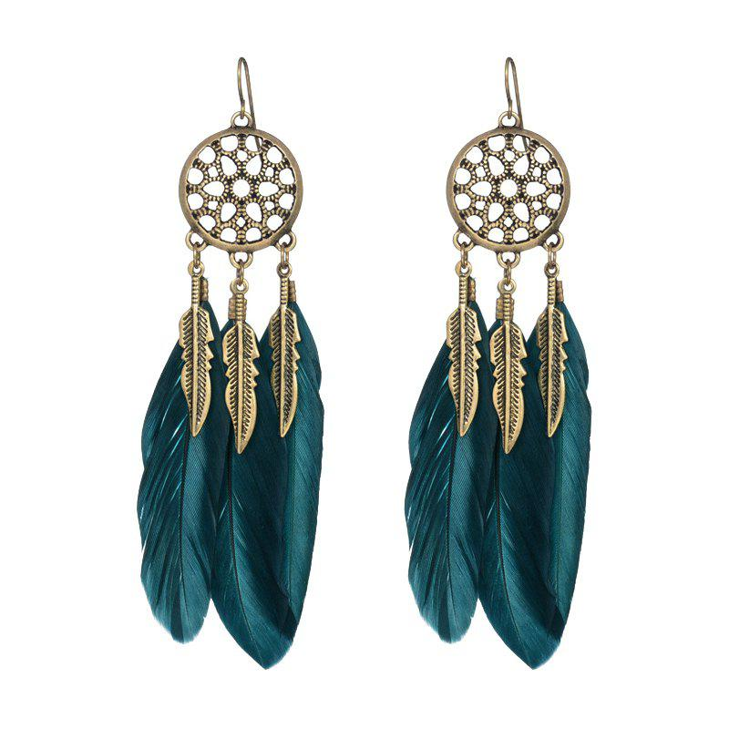 Cheap Fashionable Blue Feather Leaf Mesh Bronze Color Earrings