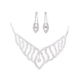 Fashion Bride Rhinestone Jewelry Necklace and Earrings Set -