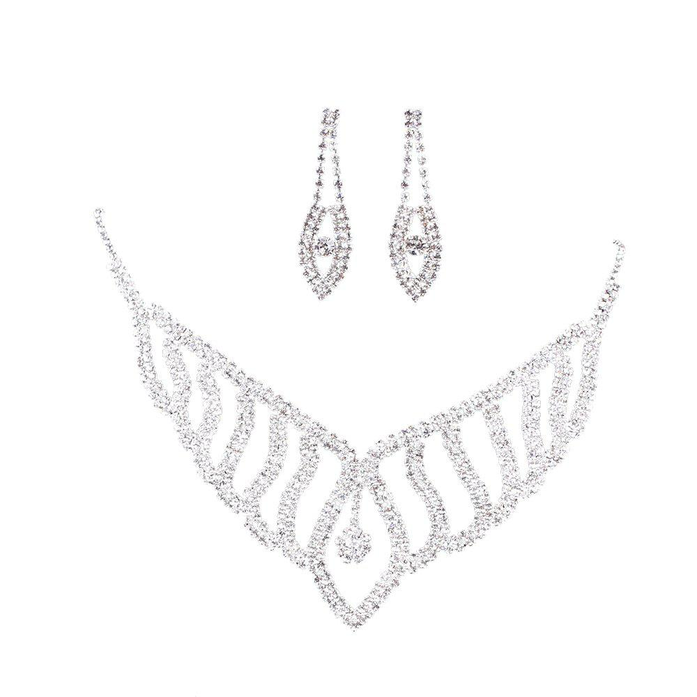 Outfit Fashion Bride Rhinestone Jewelry Necklace and Earrings Set