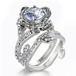 Flower Leaf Round Cut Clear Diamond Insert Wedding Bridal Ring -