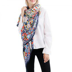 Fashion Geometric Pattern Large Cotton and Hemp Tassel Warm Scarf Shawl -