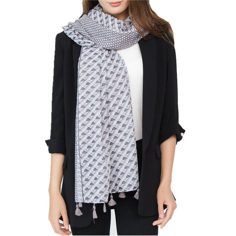 Shop Fashion Geometric Pattern Large Cotton and Hemp Tassel Warm Scarf