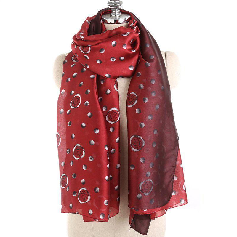 Discount Fashionable Rose Pattern Tassel Cotton Linen Warm Scarf Shawl