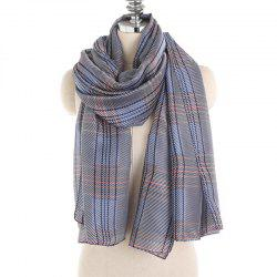 Simple and Fresh Stripe Checked Warm Scarf Shawl -