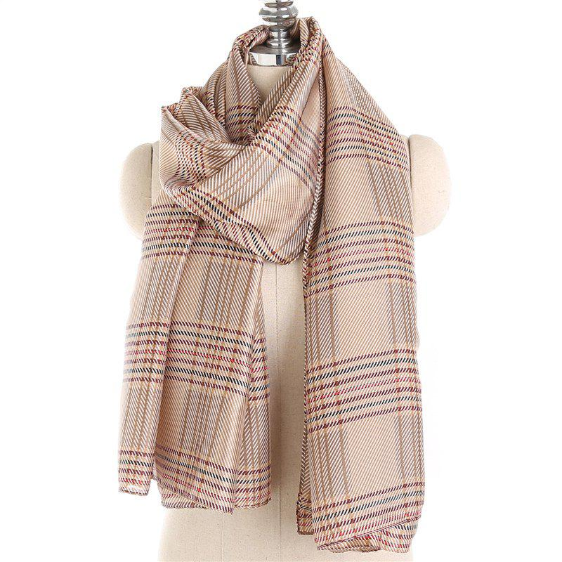 Chic Simple and Fresh Stripe Checked Warm Scarf Shawl