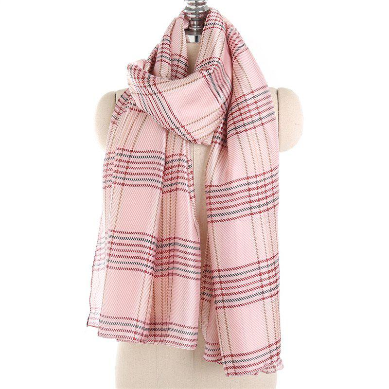 Store Simple and Fresh Stripe Checked Warm Scarf Shawl
