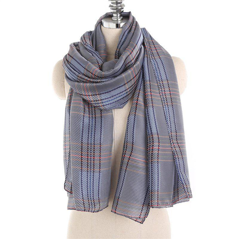 Online Simple and Fresh Stripe Checked Warm Scarf Shawl
