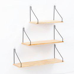 Collalily Nordic Simple Wall Shelf Iron Wooden Decorative Holder Rack -