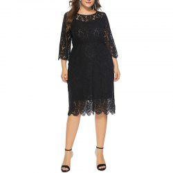 Solid Color 3/4 Length Sleeve Lace Dress -
