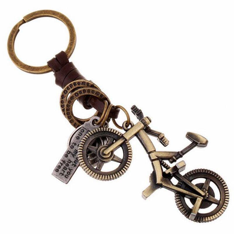 Hot Creative Alloy Bicycle Vintage Woven Keychain Leather Pendant