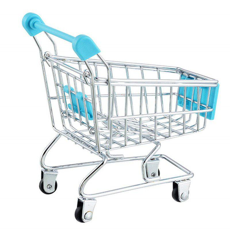 Trendy Mini Supermarket Handcart Shopping Utility Cart Mode Storage Toy