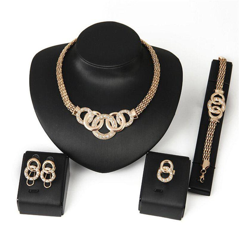 New High-Quality Explosion Necklace Earrings Bracelet Ring Jewelry Set