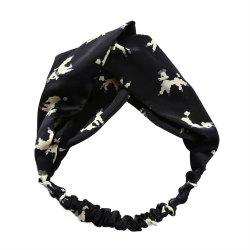 Solid Color Puppy Lady Travel Yoga Exercise Elastic Cross Hairband -