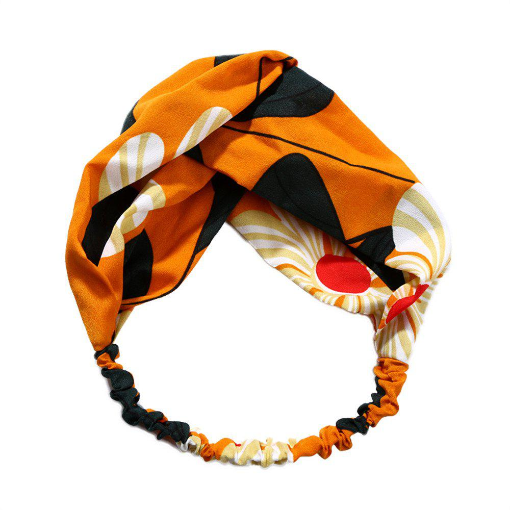 Trendy Solid Color Sun Flower Elastic Cross Hairband