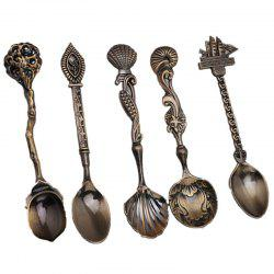5pcs/set Vintage Royal Style Bronze Carved Small Coffee Tools -