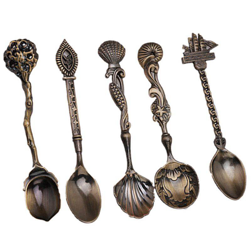 Latest 5pcs/set Vintage Royal Style Bronze Carved Small Coffee Tools