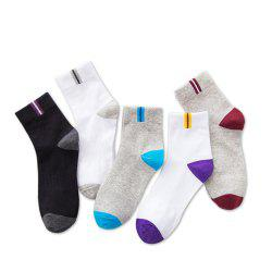 Five Pair of Men'S Cotton and Odour Double Colors Mix Socks -