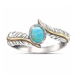 Magnificent Women Jewelry Turquoise Feather Party Ring -