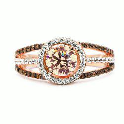 Luxury Exquisite Rose Gold Gemstone Diamond Charm Crystal Bride Princess Ring -