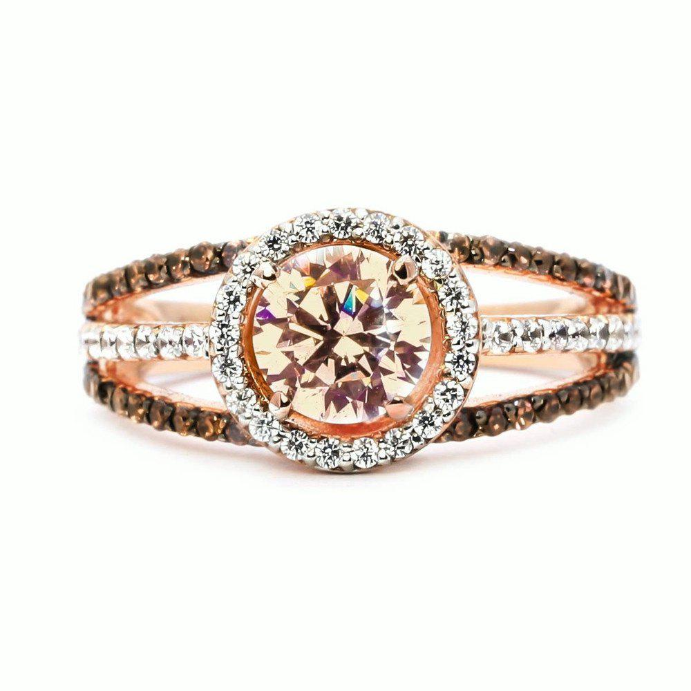 Trendy Luxury Exquisite Rose Gold Gemstone Diamond Charm Crystal Bride Princess Ring