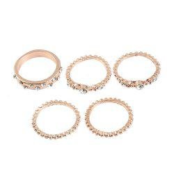 5 PCS Fashion Or Rose Stackable Sparkly Rings -