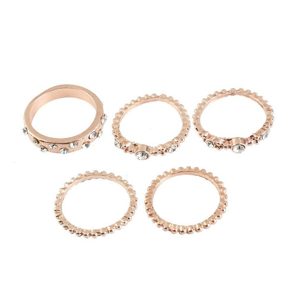 Best 5 PCS Fashion Rose Gold Stackable Sparkly Rings