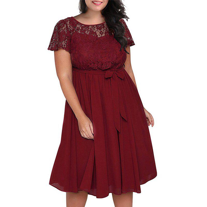 Outfit Solid Color Lace Short Sleeve Dress