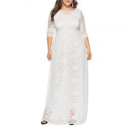 Hollow Out 1/2 Length Sleeve Lace Pocket Party Dress -