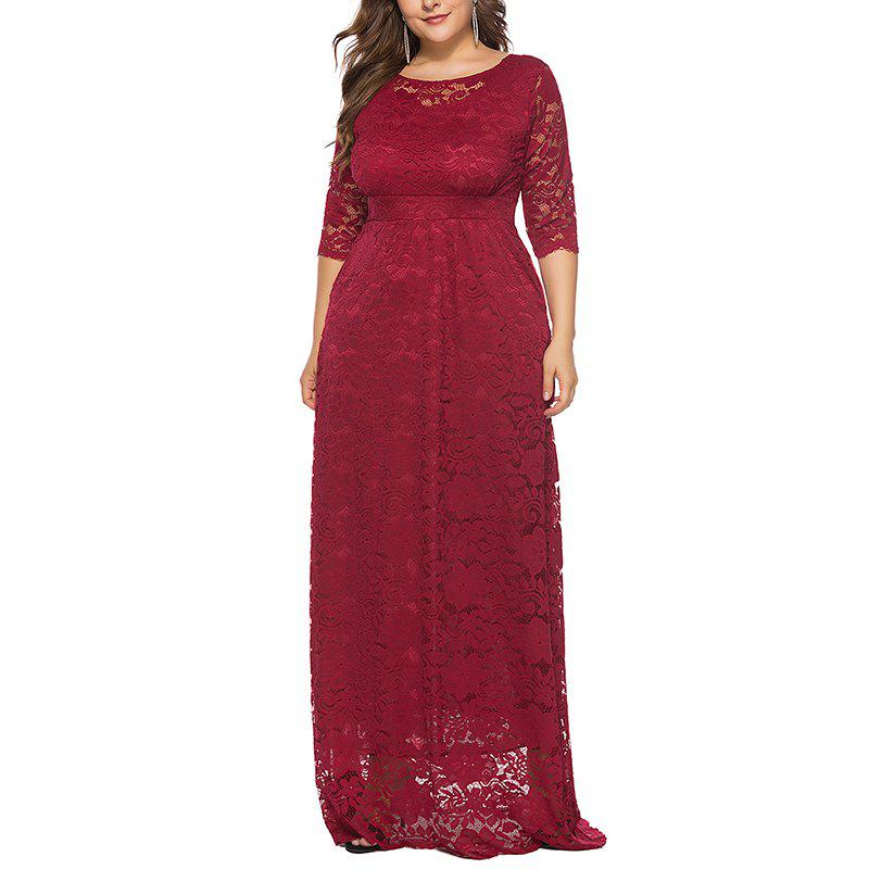 Discount Hollow Out 1/2 Length Sleeve Lace Pocket Party Dress