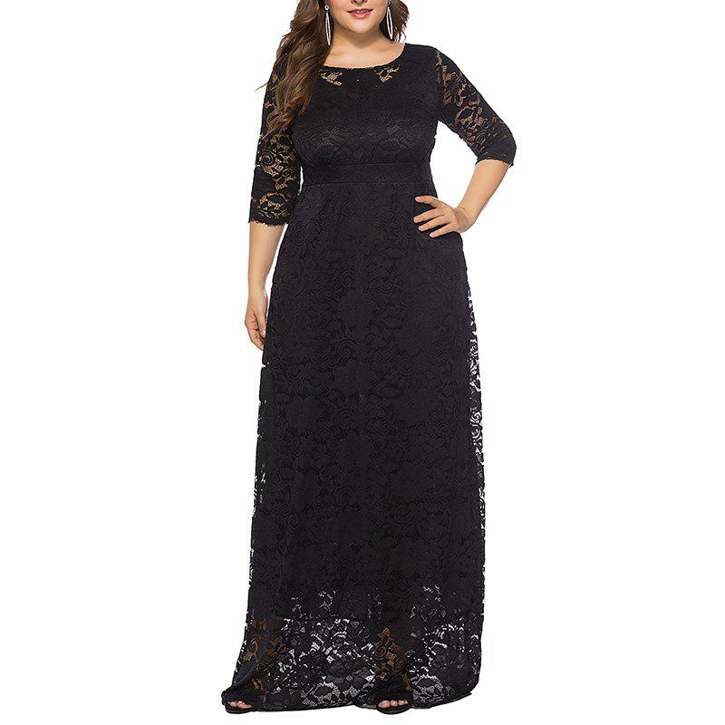 Hot Hollow Out 1/2 Length Sleeve Lace Pocket Party Dress