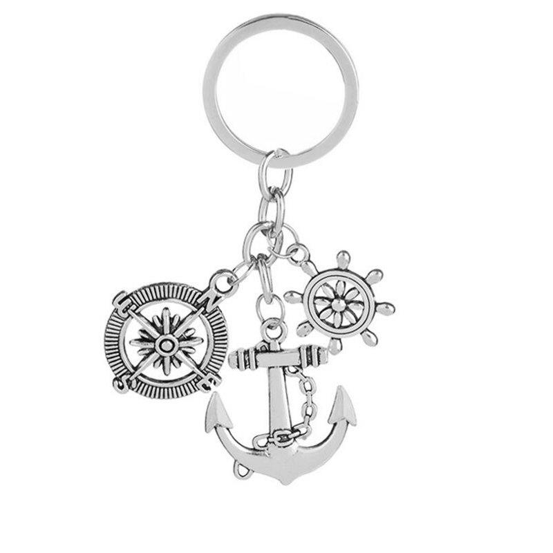 Shops Best Selling Retro Compass Rudder Anchor Keychain