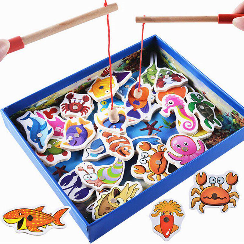 Outfit Wood Fishing Game Marine Biological Congnition Toy for Kid Gift 32PCS