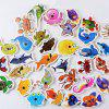 Wood Fishing Game Marine Biological Congnition Toy for Kid Gift 32PCS -