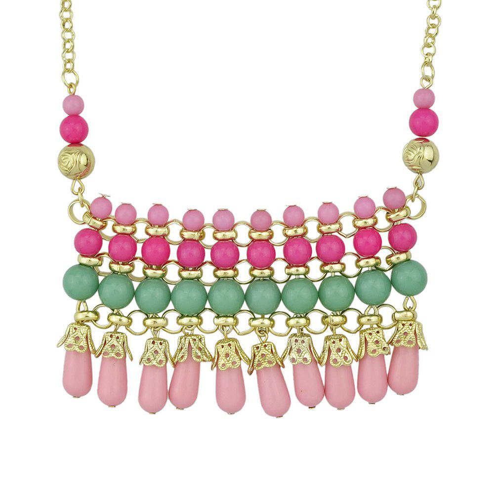 Online Metal Chain with Beautiful Colorful Bead Pendant Necklace