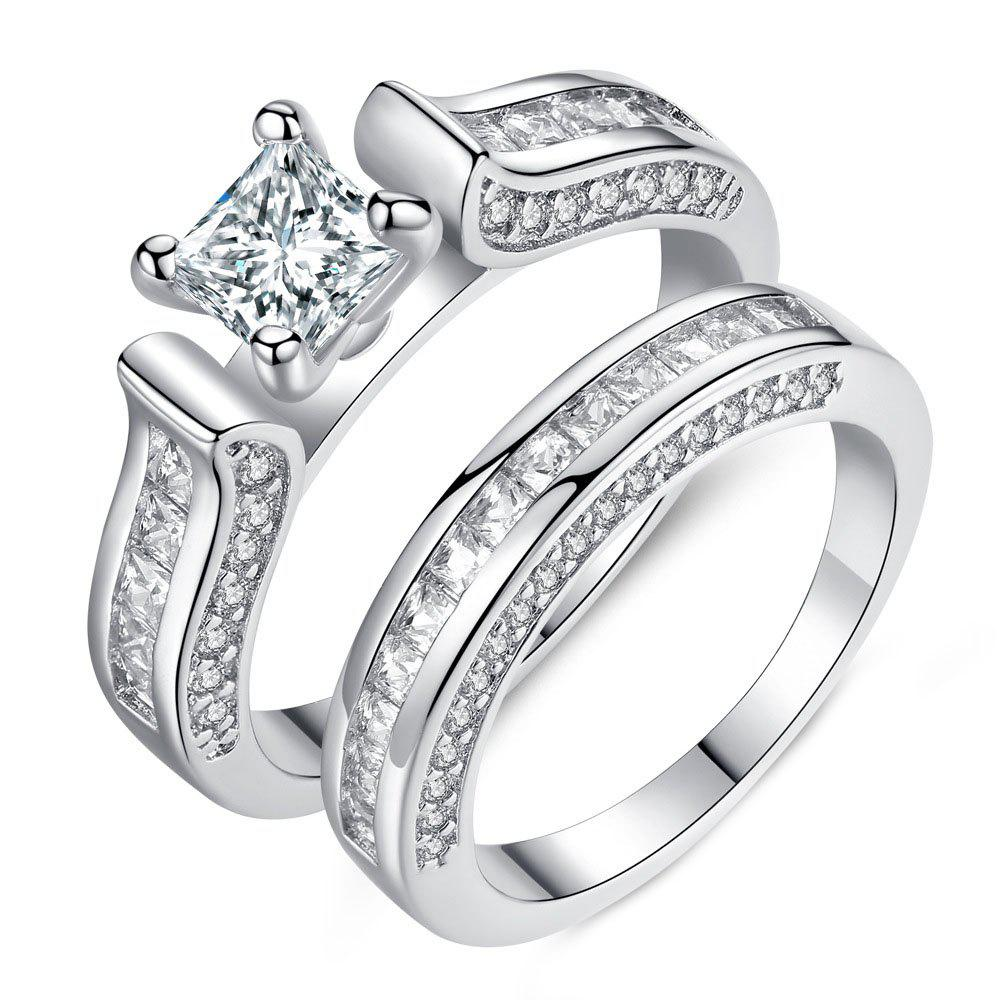Store Exquisite Four-claw Micro-studded Couple Set Ring