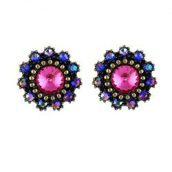 Colorful Gemstone Small Flower Earrings for Women -