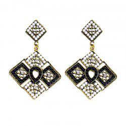 Colorful Bead Square Hollow-out Geometry Pendant Earrings -