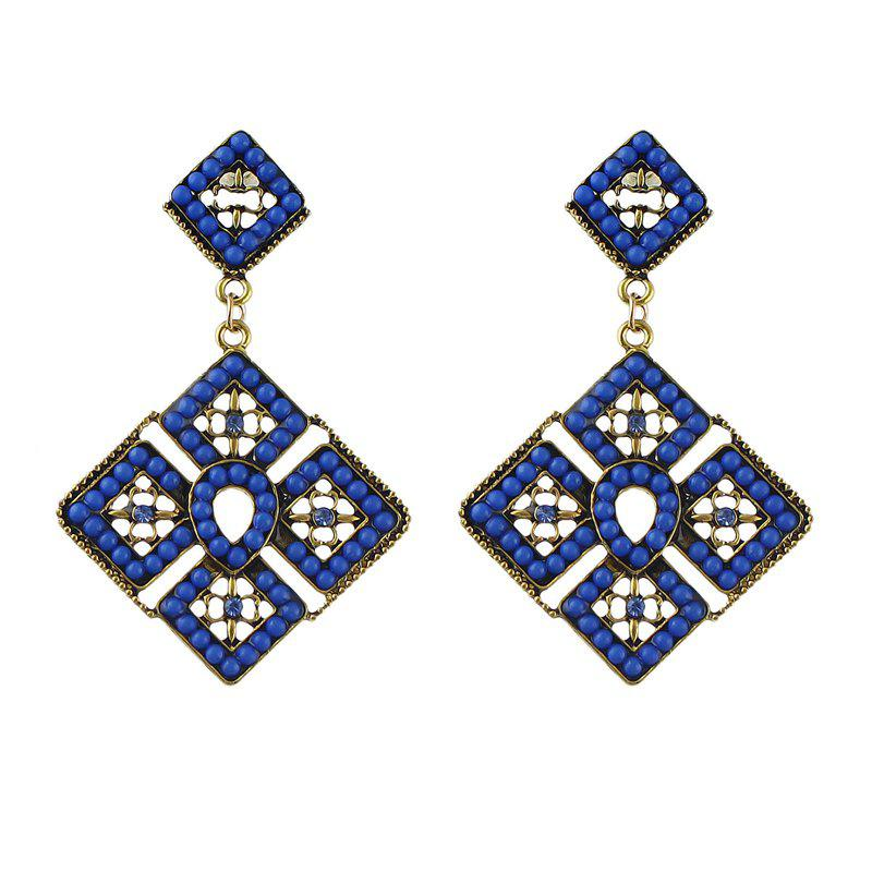 Store Colorful Bead Square Hollow-out Geometry Pendant Earrings