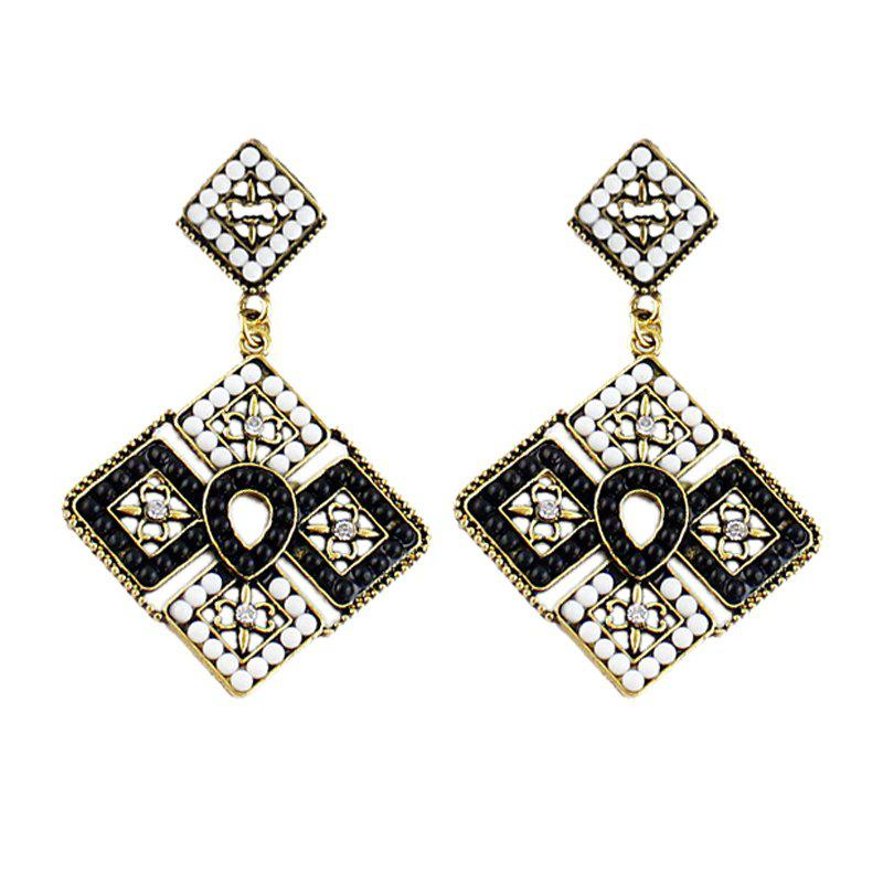 Discount Colorful Bead Square Hollow-out Geometry Pendant Earrings