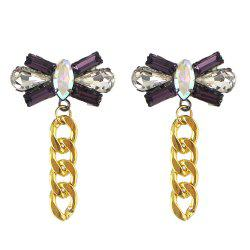 Colorful Gemstone Bowknot Chain Earrings for Women -