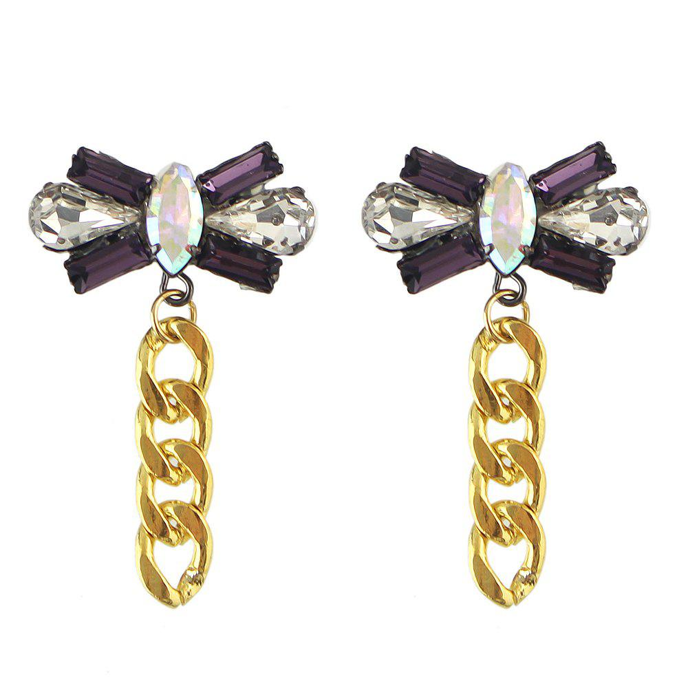 Hot Colorful Gemstone Bowknot Chain Earrings for Women