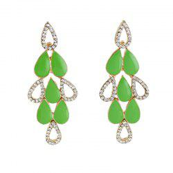 Beautiful Enamel Rhinestone Water Drop Earrings -