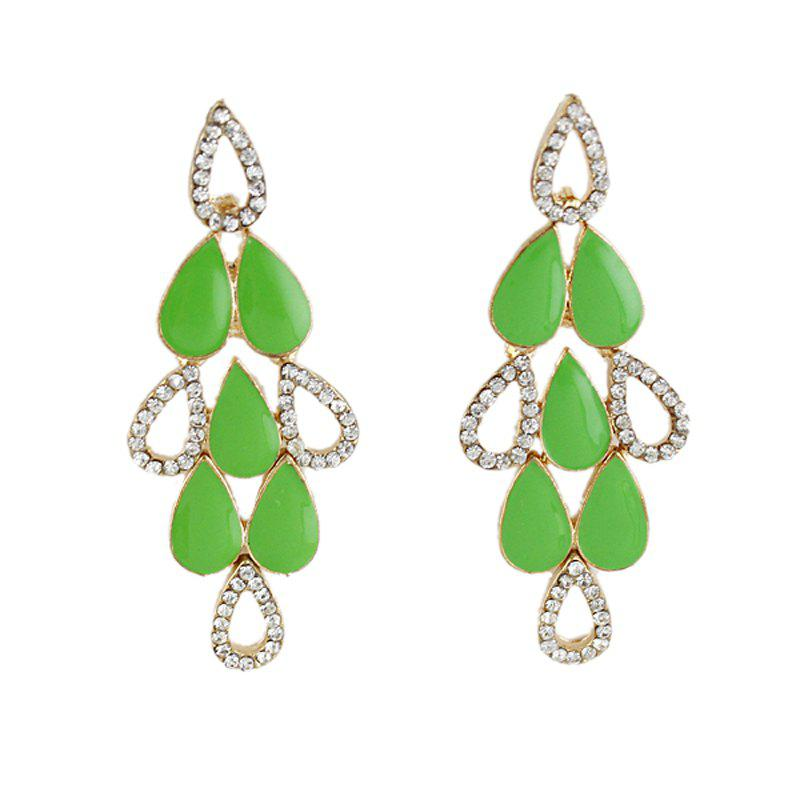 Cheap Beautiful Enamel Rhinestone Water Drop Earrings