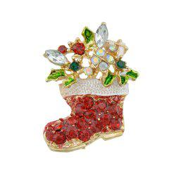 Christmas Colorful Rhinestone Boot Brooch -