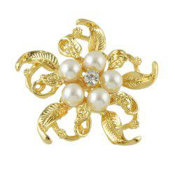 Metal Bead Flower Brooch Elegant Woman -
