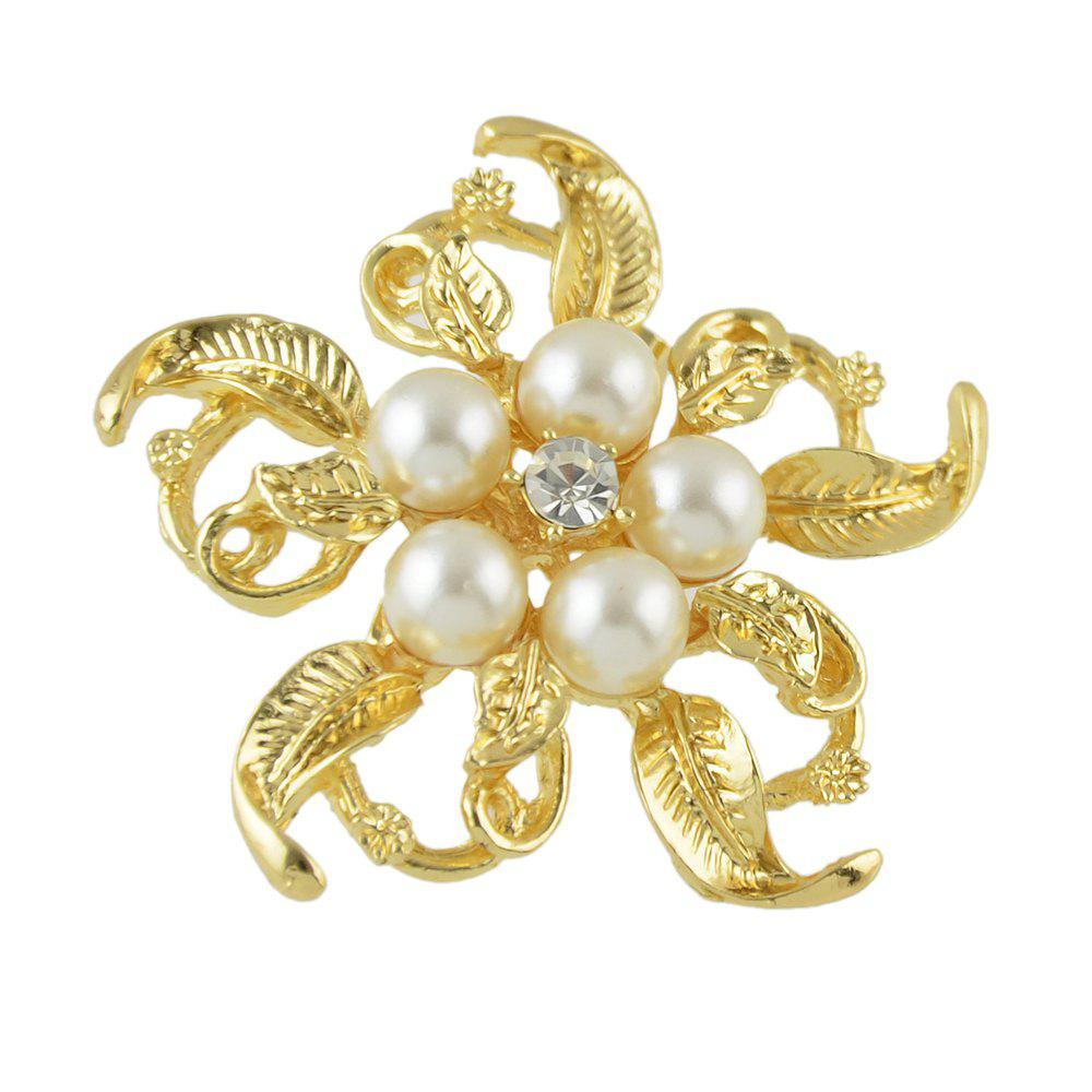 Buy Metal Bead Flower Brooch Elegant Woman