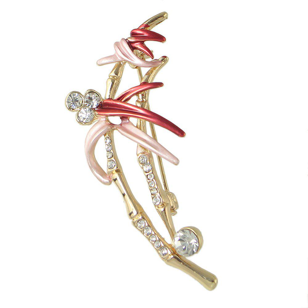 Buy Colorful Enamel Rhinestone Bamboo Shape Brooch