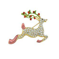 Colorful Enamel Rhinestone Christmas Deer Brooch -