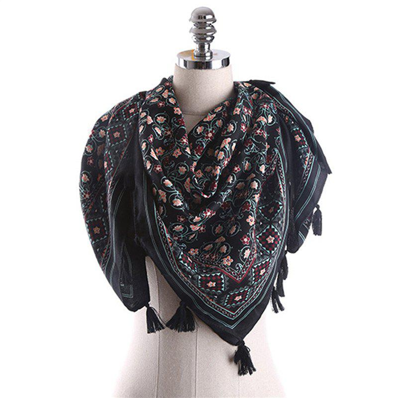 Outfit Spring and Summer Cotton and Linen Ethnic Style Sunscreen Scarf